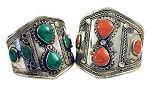 Afghani Kuchi Tribal Cuff Bracelet with Teardrop Stone Inlays (assorted)