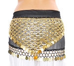 Chiffon Belly Dance Hip Scarf with Attached Coin Belt - WAVES