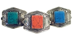Afghani Kuchi Tribal Cuff Bracelet with Rectangular Stone Inlays