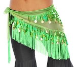Chiffon Tie-Dye Triangle Hipscarf with Teardrop Paillettes, Fringe, & Coins - GREEN