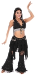 Studded Lace and Fringe Costume Set - BLACK / SILVER