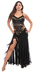 Egyptian Style Chiffon and Coin Belly Dance Costume - BLACK / GOLD
