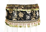 CAIRO COLLECTION: Metallic Print Belly Dance Hip Scarf / Sash with Beads & Coins - BLACK / GOLD