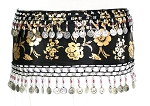 CAIRO COLLECTION: Metallic Print Belly Dance Hip Scarf / Sash with Beads & Coins - BLACK / SILVER