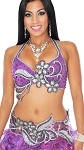 Professional Beaded Belly Dance Bra and Belt Costume Set - PURPLE