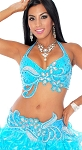 Professional Beaded Belly Dance Bra and Belt Costume Set - TURQUOISE