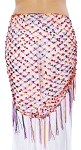 Crochet Net Shawl Scarf with Square Sequins & Fringe - TUTTI FRUTTI