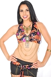 Floral Velvet Tribal Fusion Belly Dance Bra and Belt Set