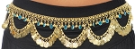 Metal Belly Dance Coin Belt with Bells, Glass Charms, and Swags - GOLD / TURQUOISE