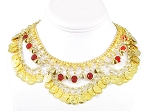 Coin Belly Dance Necklace with Bells and Glass Charms - GOLD / RED