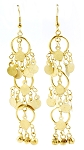 Triple Hoop Drop Earrings with Discs and Bells - GOLD
