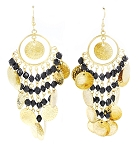 Belly Dance Costume Coin Earrings with Glass Beads - GOLD/ BLACK