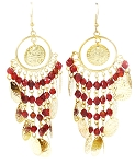 Belly Dance Costume Coin Earrings with Glass Beads - GOLD / RED
