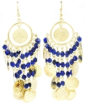 Belly Dance Costume Coin Earrings with Glass Beads - GOLD / BLUE