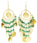 Antique Gold Belly Dance Costume Coin Earrings with Beads - GREEN