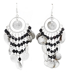 Belly Dance Costume Coin Earrings with Glass Beads - SILVER / BLACK