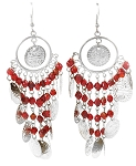 Antique Silver Belly Dance Costume Coin Earrings with Beads - RED