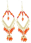 Gold Diamond Beaded Belly Dance Costume Earrings - RED & ORANGE