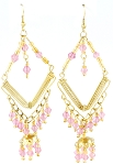 Diamond Shaped Drop Earrings with Colorful Beads - PINK ORCHID / GOLD