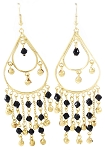 Golden Teardrop Beaded Belly Dance Earrings with Bells - BLACK