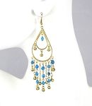 Golden Teardrop Beaded Belly Dance Earrings with Bells - TURQUOISE
