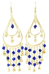 Golden Teardrop Beaded Belly Dance Earrings with Bells - BLUE