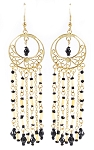 Filigree Hoop Drop Earrings with Beads and Chains - BLACK/GOLD
