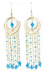 Gold Filigree Dangle Drop Beaded Earrings - TURQUOISE