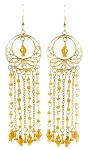 Gold Filigree Beaded Dangle Belly Dance Earrings - AMBER