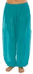 Sheer Chiffon Harem Pants with Side Slits - TEAL TURQUOISE