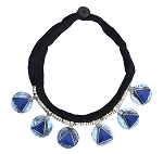 Afghani Tribal Belly Dance Choker with Blue Triangle Pendants