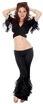 Belly Dance Fusion Ruffle Pants Set - BLACK