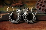 Handmade Miao Silver Large TRIBAL DRAGONS Gauge Earring Hangers