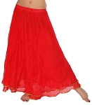 2-Layer Chiffon Belly Dance Skirt with Trim - RED / GOLD