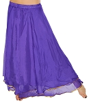 2-Layer Chiffon Belly Dance Costume Skirt with Trim - PURPLE / GOLD
