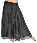 2-Layer Chiffon Belly Dance Costume Skirt with Trim - BLACK / SILVER