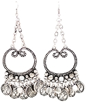 Silver Chain Drop Earrings with Coins