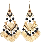 Ornate Arabesque Earrings with Beads & Filigree Accents - BLACK