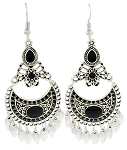 Moroccan Style Filigree Drop Earrings - SILVER / BLACK