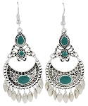 Moroccan Style Filigree Drop Earrings - SILVER / TURQUOISE TEAL