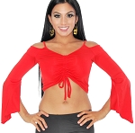 Sexy Off-the- Shoulder Half Top with Drape Sleeves - RED