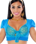 Tie-Front Half Top Choli for Dance and Stage - JASMINE TURQUOISE