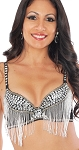 Sequin Cabaret Belly Dance Bra with Fringe - BLACK / SILVER