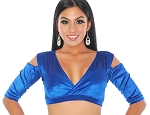 Open Shoulder Velvet Half Top Choli - ROYAL BLUE