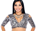 Open Shoulder Half Top Choli - SNOW LEOPARD