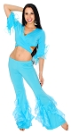 Belly Dance Fusion Ruffle Pants Costume Set - BLUE TURQUOISE