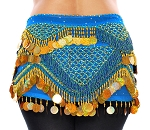 CAIRO COLLECTION: Beaded Paillette Hipscarf- AZURE BLUE/GOLD