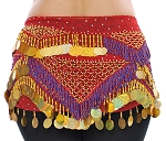 CAIRO COLLECTION: Beaded Paillette Hipscarf- RED/BLUE/GOLD