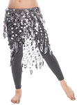 Paillette Triangle Shawl Belly Dance Hip Wrap Hipscarf - SILVER