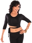 3/4 Sleeve Criss-Cross Tie Top - BLACK